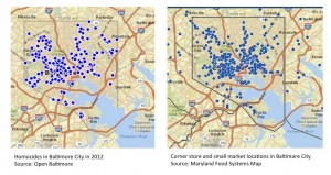 Side by side: Baltimore City homicides and corner store locations. Click to enlarge.