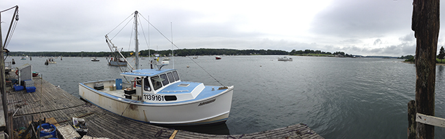 lobster boat leaving dock