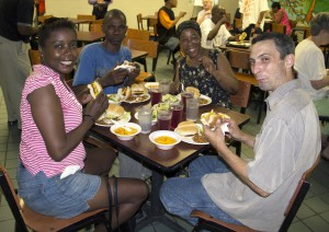 Guests enjoying a meal at the Franciscan Center.