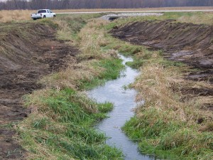Two-stage ditch before rain.